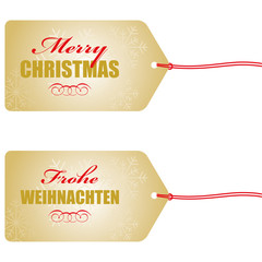 merry christmas  frohe weihnachten anhänger in gold