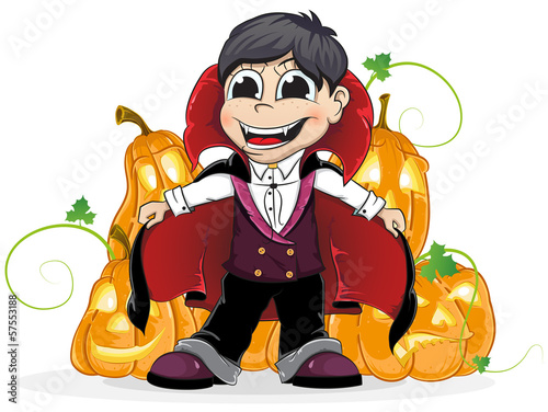 Vampire  boy and  Jack O Lanterns