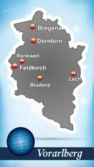 Inselkarte von vorarlberg Abstrakter Hintergrund in Blau