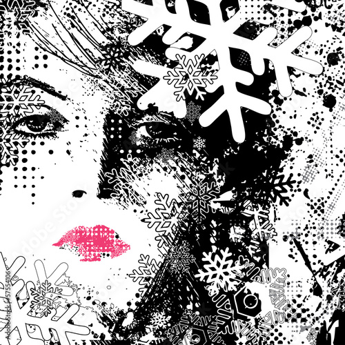 Deurstickers Vrouw gezicht abstract illustration of a winter woman