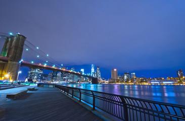 New York Skyline at Night, New York City, USA