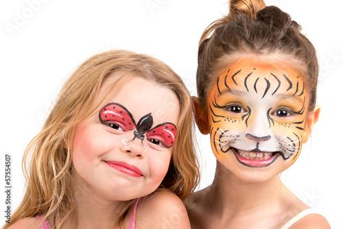 Fototapeta Face painting, tiger and ladybug