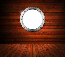 Interior Wooden Room with Metal Porthole