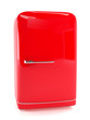Retro red refrigerator isolated on white. Classic fridge