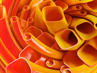 Abstract background. 3d rendered orange twisted pipes