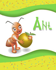 Animal alphabet ant with a colored background