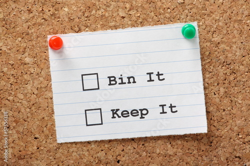 Bin It or Keep It Tick boxes on a cork notice board