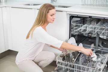 Calm gorgeous model kneeling next to dish washer
