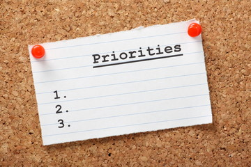 Priorities List for Business plans or Life Goals