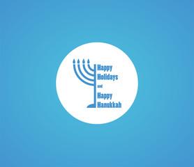 happy Hanukkah and happy holidays, jewish holiday menorah