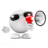 Golfball with megaphone
