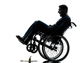 fearless handicapped man in wheelchair silhouette