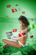 Brunette woman in bikini gambling online in green light