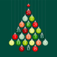 Advent Calendar Christmas Tree Balls Green/Red/Silver