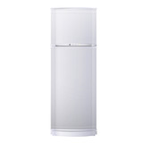 Realistic refrigerator over white background.