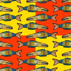 Colorful fish seamless pattern
