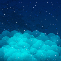 Night sky with shiny stars and clouds