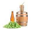 Barrel mug with barley hop and bottle of beer.