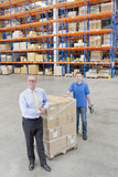 Portrait of smiling supervisor and worker leaning on pallet of cardboard boxes in distribution warehouse