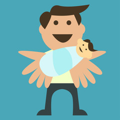 Vector-style illustration of a father with his newborn child
