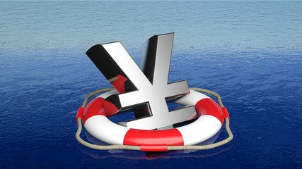 Life belt with yen sign in open sea