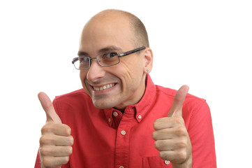 bald man holds his thumbs up