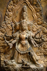Brazen relief of Shiva the destroyer in  Durbar square. Nepal