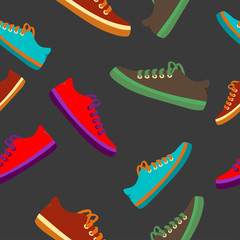 Colourful sneakers on black background. Vector available