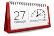 Kalender rot 27 Oktober Zeitumstellung Uhr Winterzeit