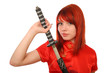 woman with samurai sword on white background