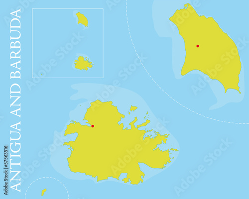 Antigua and Barbuda islands Vector Map