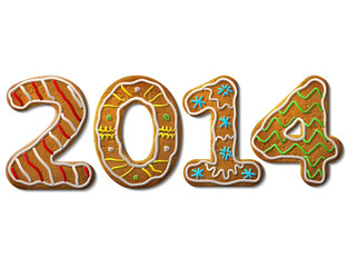 New Year 2014 in shape of gingerbread isolated on white. Vector