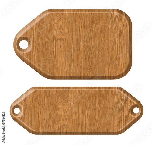 wooden label, isolated on the white background.