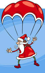 santa on parachute cartoon illustration