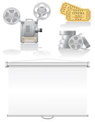 set cinema icons vector illustration