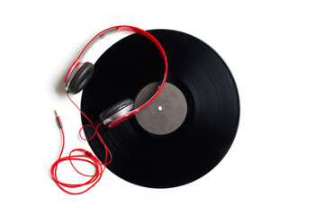 red headphones with vinyl album