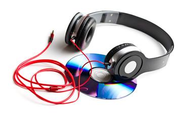 black headphones with cd
