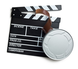 clapper board with film reel on white background
