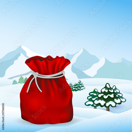 Santa Claus red bag full on landscape, vector