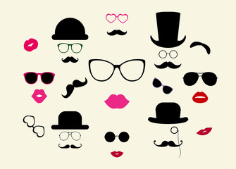 Hats, Moustaches, Eyeglasses, Lips Vector Icon Set