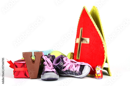 Putting shoes for Sinterklaas eve