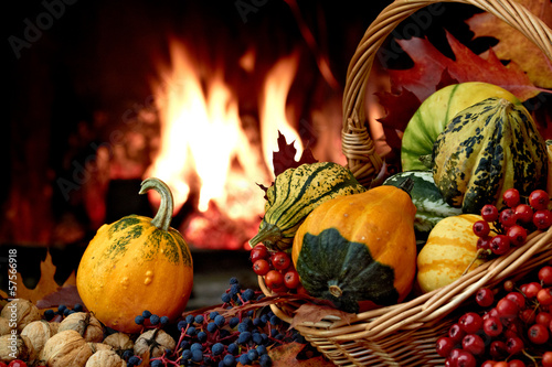 Autumn nature concept with colorful pumpkins in basket