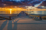 Colorful sunset at a famous marine pier in Palanga, Lithuania