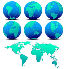 Six Global Worlds and World Map - SET ONE - Vector Map of the Wo