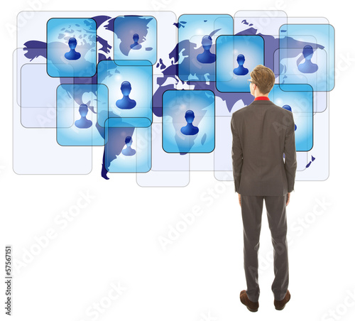 Young man looking at his virtual friends isolated