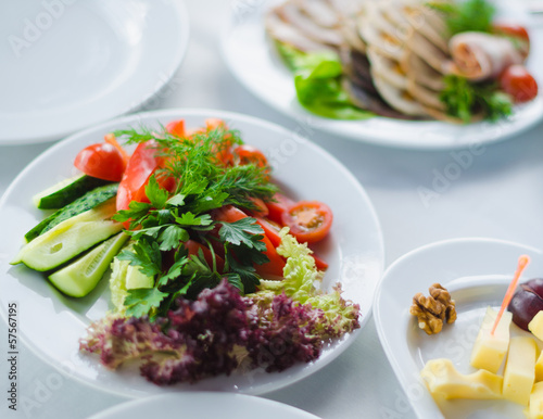 vegetables healthy food on a white plate