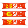 Big, half price and one day sale banners