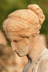 beautiful woman  with bowed head - classic sculpture