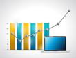 business graph and laptop illustration design