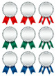 9 Award Badges Silver Ribbon